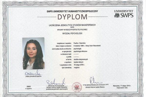 dyplom P. Osienicka